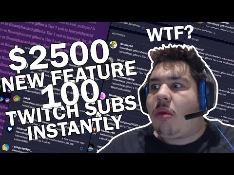 GREEKGODX Gets $2500 in Twitch Subs New Feature 100 Subs INSTANTLY?