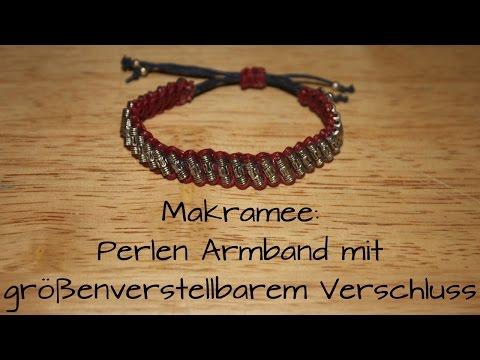 Makramee: Perlen- Armband mit größenverstellbarem Verschluss (Anleitung)