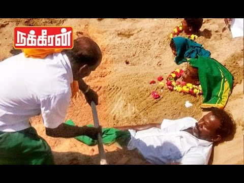 Trichy-farmers-Innovative-protest-over-Cauvery-Water-Dispute