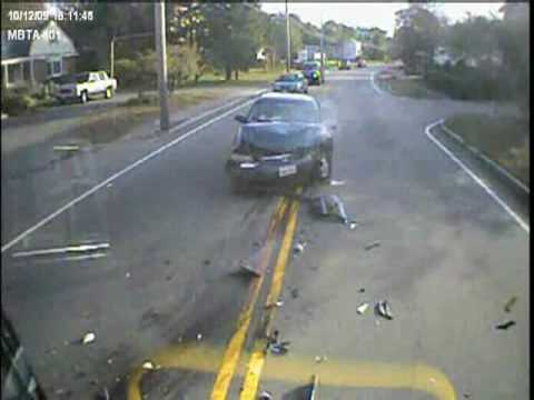 Caught on tape : Woman falls asleep at wheel and crashes into MBTA bus in traffic. Onboard video