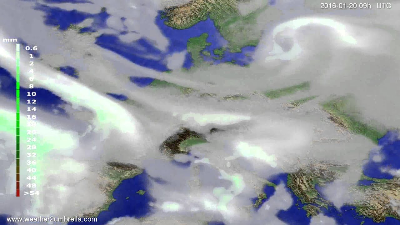 Precipitation forecast Europe 2016-01-16