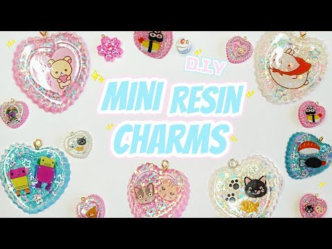 ♡ D.I.Y Kawaii Heart Resin Charm Tutorial ⟣ using stickers! Puffy & regular