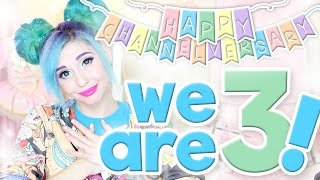 Happy Channelversary, lil qt bears!!!!! We turned 3 TODAY!  I love you all SO FREAKING MUCH. Thanks for being a part of my lil internet family. You rule. xoxoxoooo -Alinks beloowwwwwVideos mentioned:NYX FACE Awards Playlist: https://www.youtube.com/playlist?list=PLGWFpwMXrKHJSVqSA827z9-jAnD7gmZNiThe Forgotten Troll: https://youtu.be/-QQX_RvX-VYMahou Shoujo Alexa (anime vid): https://youtu.be/gVkHc1hxuTwEleven Cosplay Tutorial: https://youtu.be/QReoQD2IHmQDemogorgon Tutorial (rawbeautykristi): https://youtu.be/TRkJdVXbi3IGuide to Happiness: https://youtu.be/NL7uTiPrL64POLETTI TWINS CHANNEL: https://www.youtube.com/channel/UCqOLq09v-q4a5JxcEFID1sAMy Social Media:2nd Channel: http://bit.ly/2i3L30YInstagram: http://bit.ly/1oJbwMLTwitter: http://bit.ly/SvyfzkSnapchat: alexapolettiFacebook: http://on.fb.me/1qosyizTumblr: http://bit.ly/1mdvoaDYouNow: http://bit.ly/2fYefp2Music: Dread Pitt - Pyro (NCS Release)https://youtu.be/Ji6DuevDUCM