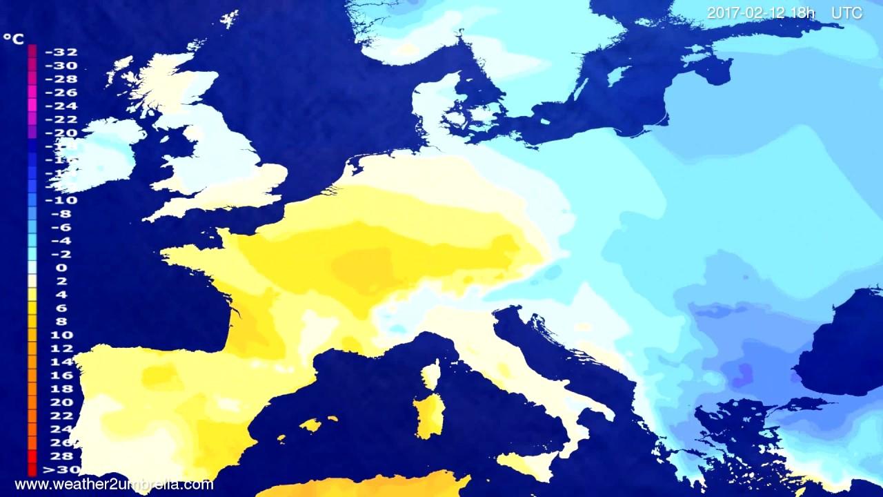 Temperature forecast Europe 2017-02-09