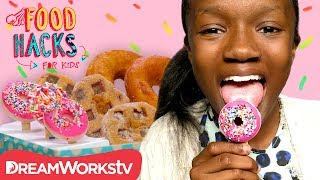 Shanynn's back with some delicious donut hacks!→ Credits ←Host: Shanynn CovingtonStudio Teacher: Kelly SheaDirected by: Rachel EckWritten by: Rachel EckProduced by: Rachel Eck & O.Z. OzmenAssociate Producers: Elle Gehringer & Kristine ShofmannPA: Michael JarettPA: Ericka BermanDirector of Photography: Tony ChiuCamera Operator: Kak LeeAC: Max David PardoProduction Designer: Dan FoxConstruction Coordinator: Ellyn PuckettFood Stylists: Melissa Smith & Serge KinzlerFood Stylist PA: Louise LeonardSound: Matt BurgetteEdited by: Michael FelkerAssistant Editor: Timothy ConroyPost Supervisor: Drew HamiltonProduction Coordinator: Allyson KlosterLine Producer: Jeremy ChilversExecutive Producer: Judy MeyersSpecial Thanks: Melissa CovingtonFollow DreamWorksTV! instagram - https://instagram.com/dreamworkstv/twitter - https://twitter.com/dreamworkstvfacebook - https://www.facebook.com/dreamworkstvJoin the fun on DreamWorksTV where you can find an endless supply of laugh-out-loud jokes, lovable characters, life hacks, music, magic, gaming and more! Get crafty with our DIY hacks, sing along to today's catchiest songs, surprise your friends with clever magic tricks, and learn all the best video game tips and tricks. DreamWorksTV has it all, made just for kids! Check back daily for new episodes and don't forget to follow us on Facebook and Instagram. → Watch Something New! ← http://bit.ly/1L3zRrF→ SUBSCRIBE TO DreamWorksTV! ← http://bit.ly/1kulRcU