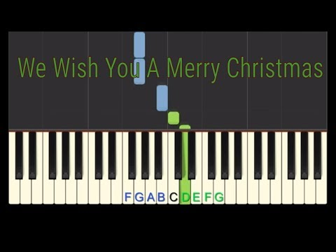 Easy Piano Tutorial: We Wish You A Merry Christmas (full speed) with free sheet music