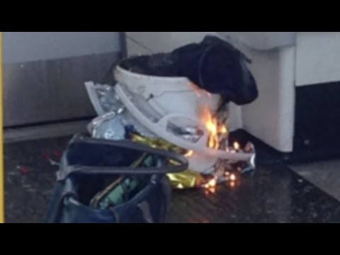 Burning device filmed on tube carriage at Parsons Green station
