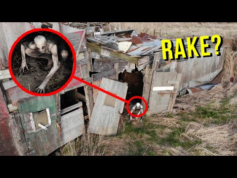 DRONE CATCHES THE RAKE AT HAUNTED ABANDONED BARN!! (HE'S REAL!)