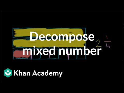 Decomposing A Mixed Number Video Khan Academy
