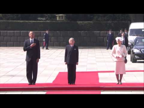 Raw - US President Barack Obama was welcomed at the Imperial Palace in Japan on Thursday, as part of an official state visit to the country. (April 23)
