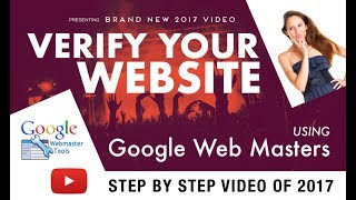 How to Verify Your Website with Google Webmasters Tool (Google Search Console ) in 2017https://www.digitalmarketingforfree.com/verify-your-website-with-google-webmasters/How to Verify Your Website with Google Webmasters Tool (Google Search Console ) in 2017If you haven't set your site up on Google Webmaster Tools yet, getting started is simple. Visit: https://www.google.com/webmasters/verificationYou'll have to first verify that you own the domain. Depending on your host, Google may provide verification through an easy pop-up process that allows you to login and verify in just a couple steps.On the next screen, you will be asked to verify the ownership of the website you are adding. You can either upload an HTML file to your website's root directory using cpanel or click on Alternate method to obtain a meta tag which you can then add to your WordPress site.Copy the meta tag line provided by webmaster tools.Once you follow the method shown in the video above, After you've verified your website, it'll usually start populating data within 24 – 48 hours.This is a 4 video series for the Google Search Console Playlist which you can find here: https://youtu.be/giapXYi46hc?list=PL-3V__L1eHbZl3cVZoEjcbcay-4a9Pg6JIf you have missed out on the previous video then here is the link:1.) What is Search Console 2016 (2015)  What is Webmasters Tool 2016 (2015) : https://youtu.be/giapXYi46hcDon't miss out on any such videos!Stay up-2-date with all the latest videos like this one!Subscribe: https://goo.gl/3ts8kRHow to Verify Your Website with Google Webmasters Tool (Google Search Console ) in 2017https://youtu.be/eruc0YAAadA