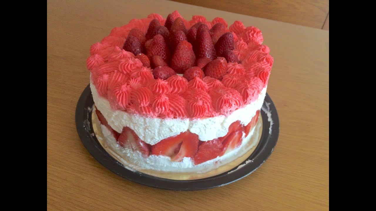 Torta romantica con fragole, panna e crema al mascarpone ♥ VIDEORICETTA