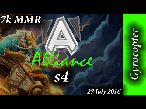 Alliance s4 Gyrocopter with Akke & EGM 20min win 7k MMR Full Game Dota 2