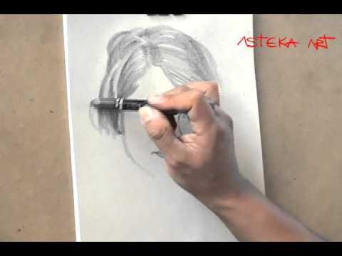 EJERCICIOS PROFESIONALES DE DIBUJO. Retrato con barra gruesa de grafito 6-B