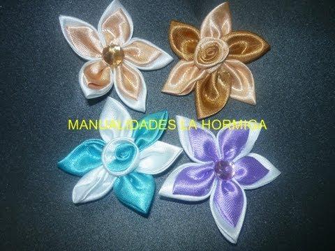 Manualidades y accesorios la hormiga. como hacer flores kanzashi, flores  cinta video131