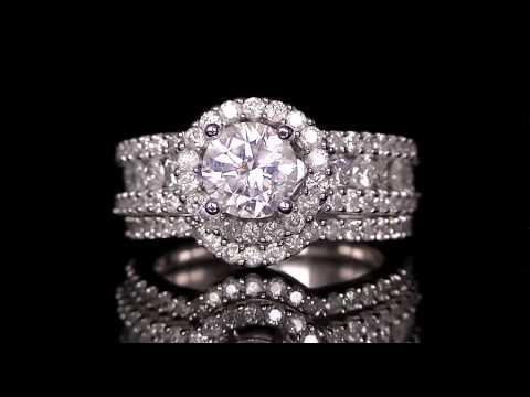 2 1/2 CTW Diamond Halo Engagement Ring Wedding Band Bridal Set in 14K White Gold