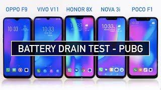Video Oppo F9 / Vivo V11 / Honor 8X / Nova 3i / Poco F1 Battery DRAIN Test PUBG | Zeibiz MP3, 3GP, MP4, WEBM, AVI, FLV Januari 2019