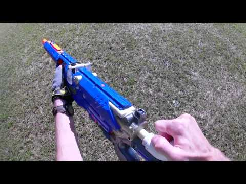 rifle - Full credit to the Nerfomania's meticulous craftsmanship for this one. This sniper rifle not only breaks 150 feet but does so in under a second. This over 450 FPS firing sniper rifle is what...