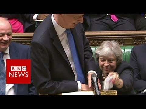 Budget 2017: May hands cough sweets to Hammond - BBC News