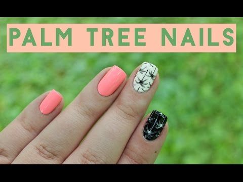 Black & White Palm Tree Nails | Pop of Neon
