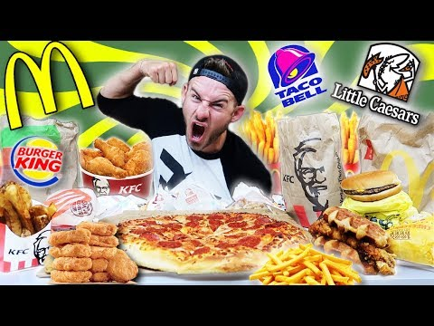 THE 50 FAST FOOD CHALLENGE! 9,000 CALORIES