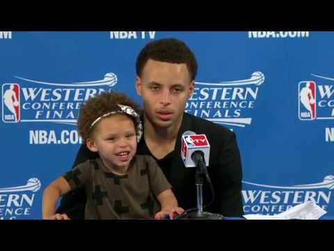 Steph Curry's Daughter Riley Steals The Show at Post Game Press Conference