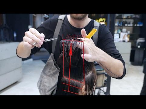 how to cut medium length layer haircut