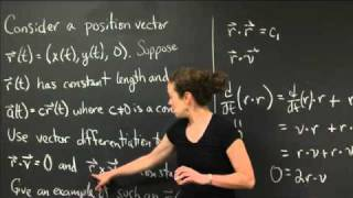 Differentiating A Vector Valued Function   MIT 18.02SC Multivariable Calculus, Fall 2010
