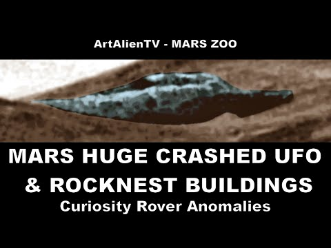 MARS HUGE CRASHED UFO / ALIEN SAUCER & Mount Sharp Buildings. ArtAlienTV 1080p (PART 1)