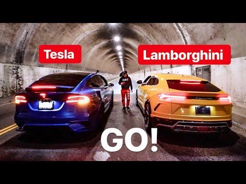 LAMBORGHINI URUS VS TESLA ELECTRIC MODEL X LUDICROUS DRAG RACE!