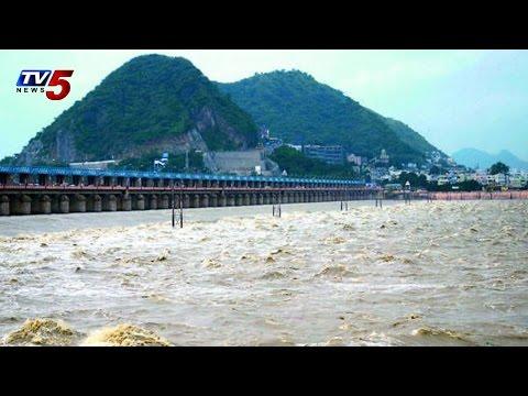 Flood Water at Prakasham Barrage | 74 Gates Lifted : TV5 News