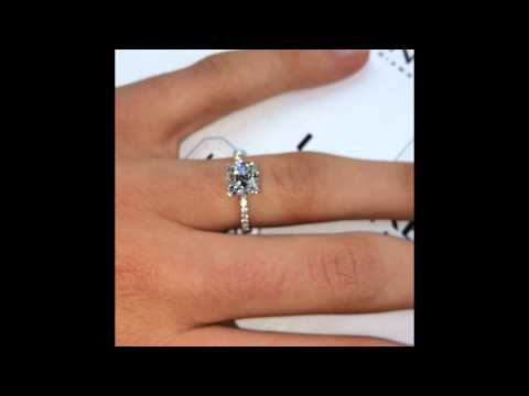 1.60 ct Cushion cut Diamond in Micro Pave Engagement Ring Setting