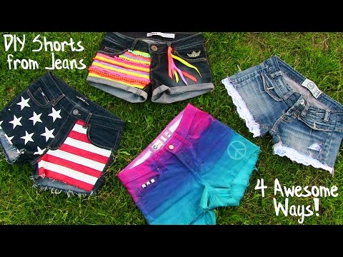 Clothes - DIY Clothes tutorial with 4 DIY shorts designs! In this DIY fashion tutorial I show how to create 4 beautiful shorts projects out of old jeans. It's a perfec...