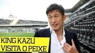 """No Brasil para acompanhar o Mundial, o ex-jogador do Peixe, Kazu Miura, o """"King Kazu"""", maior artilheiro da história da seleção..."""