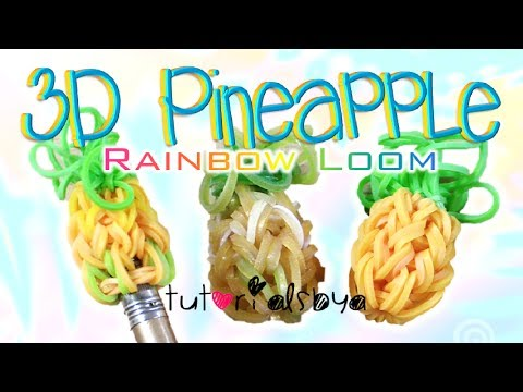 NEW 3D Pineapple Pencil Topper / Charm Rainbow Loom Tutorial | How To
