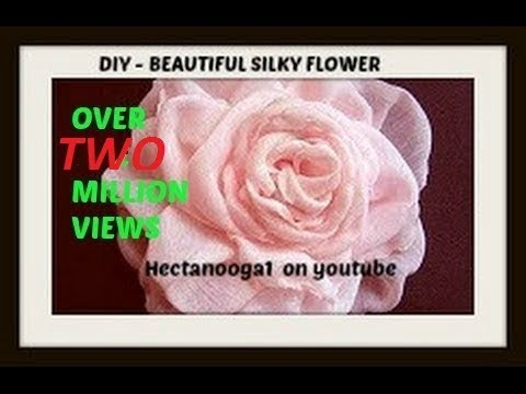 Flowers - Video tutorial on how to make a beautiful silky flower from polyester fabric, such as curtain materials, chiffon, voile, polyester lining, any polyester fabr...