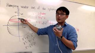 Calculus, Sect 6.4 #22, Pumping water out of a spherical tank