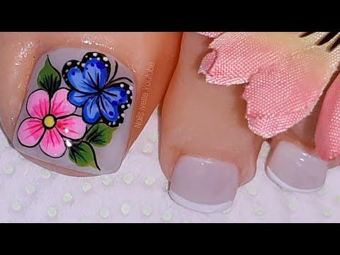 Uñas decoradas - Decoración de uñas para PIE/ decoración de uñas flor y mariposa/ diseño para pies/ uñas de los pies