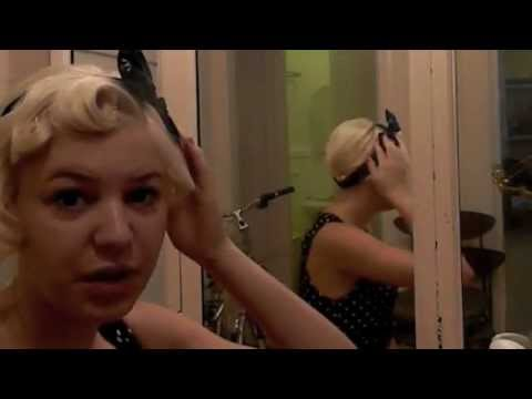 Pinup Rockabilly Hair style Victory rolls & Pin Curls w/ bandana or headband in under 10 minutes!