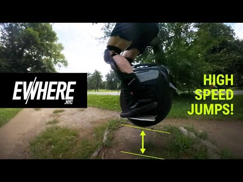 Electric Unicycles HIGH SPEED JUMPS And SHREDDING Park Trails / Gotway MSuper X / Insta 360 One