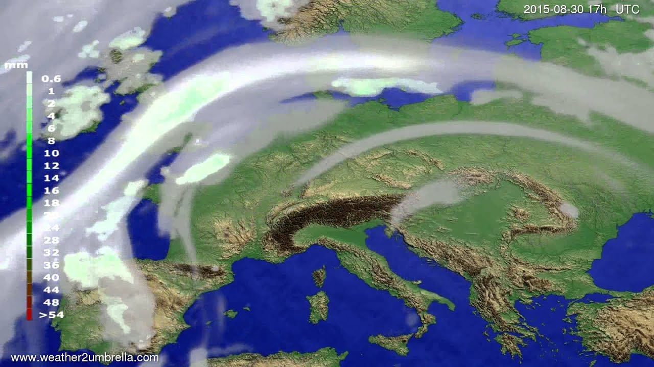 Precipitation forecast Europe 2015-08-27
