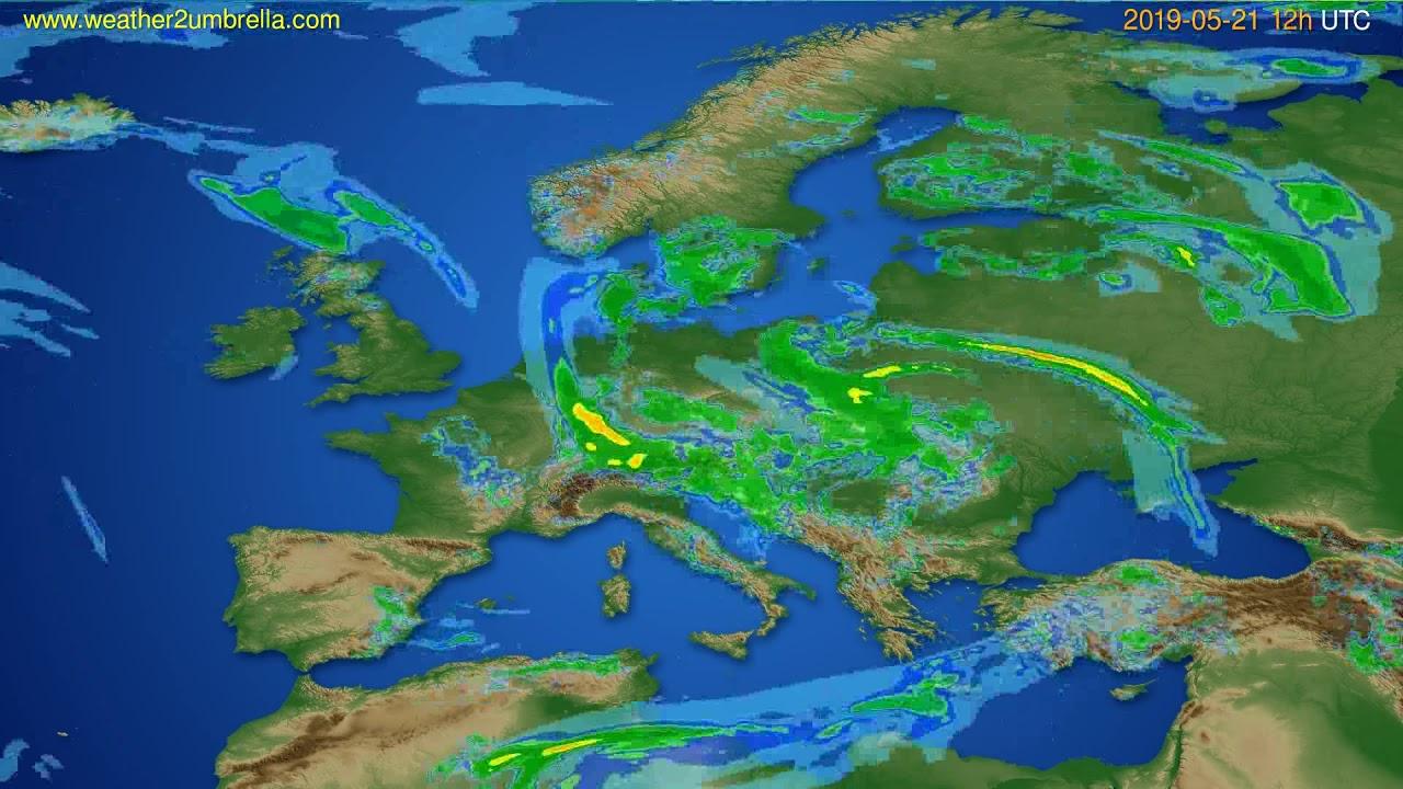 Radar forecast Europe // modelrun: 00h UTC 2019-05-21