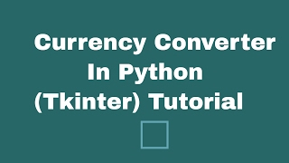 In this video, you will learn how you can use some basic tkinter skills to create currency converter application.Difficulty: EasyFollow Me On Twitter: @techinov22
