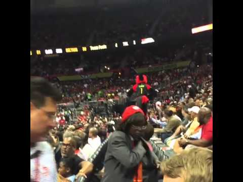 Atlanta Hawks Mascot Falls on Railing - ouch!