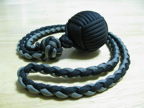 Paracordist: Monkey's Fist self defense lanyard – how to tie a manrope knot and 4 strand round braid