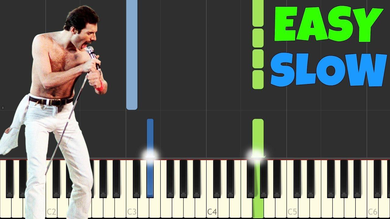 Bohemian Rhapsody - Queen [SLOW Easy Piano Tutorial] (Synthesia