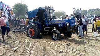Sonalika DI-750III tractor stuck with 2 harrow in jatola competition