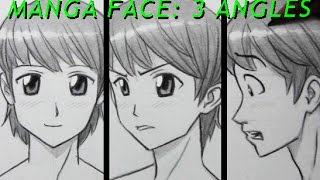 Drawing Time Lapse: Manga Face, 3 Angles [Male]