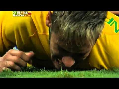 Neymar Back Injury, Brazil vs Columbia 2014 FIFA World Cup QF