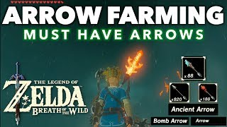 This video shows Where to Find and Farm Various Powerful Arrows in Zelda Breath of the Wild.  We collect Ancient arrows, Bomb arrows and also the standard common arrows. These are the 3 best arrows to have in the game. Link has to make the ancient arrows himself by using the ancient furnace and we need to farm guardians to gather monster parts in order to craft them. These are the most powerful weapons in breath of the wild. I will show you how to quickly collect ancient gears, ancient screws, ancient springs, and ancient shafts. This arrow farming video packs a lot of cools tips that you should know on your journeys. Parts/Weapons/Enemies Farmed in this video:•Guardian Stalkers•Decayed Guardians•Ancient Arrows•Bomb Arrows•Arrows______________________________________________PLEASE CHECK OUT SOME OF MY OTHER COOL VIDEOS! HOW TO FARM RARE ITEMS IN BREATH OF THE WILD:https://youtu.be/cVfWZwunjCQ?list=PLTeo8k1SzTr16dLY162pK9Yd0FTzpv4-GHOW TO MAKE MONEY IN BOTW:https://youtu.be/_71dOI6S7JY